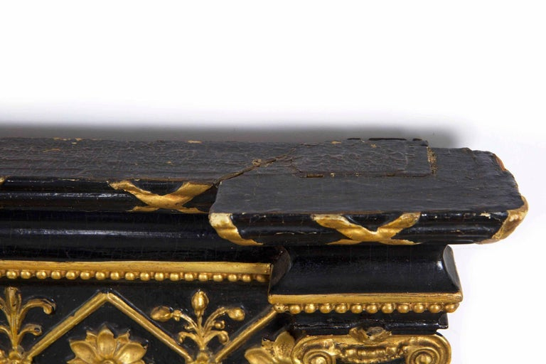 Early 19th Century Regency Period Ebonized and Parcel Gilt Pier Mirror circa 1815 For Sale