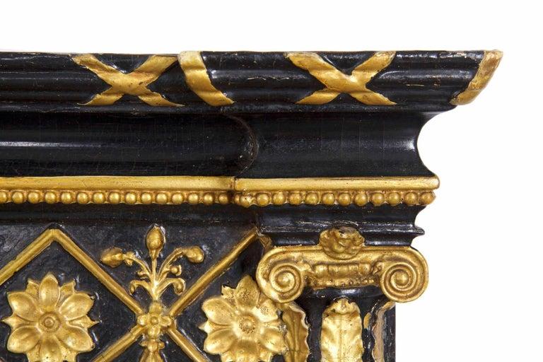 Regency Period Ebonized and Parcel Gilt Pier Mirror circa 1815 For Sale 1