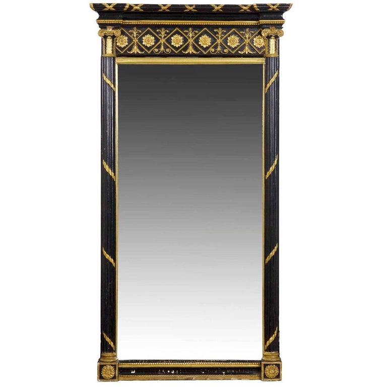 Regency Period Ebonized and Parcel Gilt Pier Mirror circa 1815 For Sale