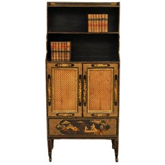 Regency Period Lacquered Bookcase with Open Shelves