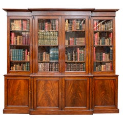 Regency period Mahogany Breakfronted Library bookcase, circa 1820-1830