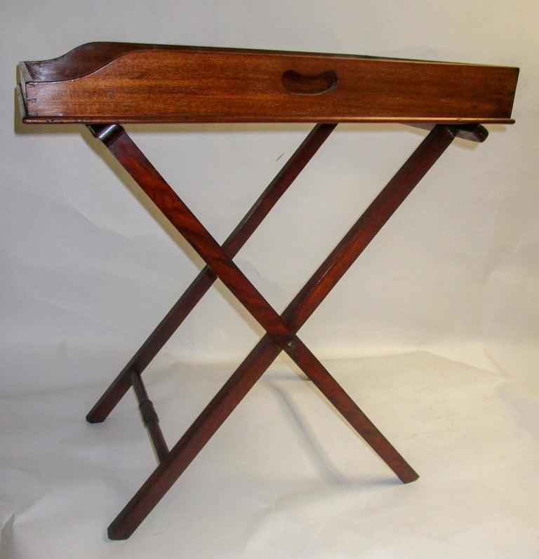 Regency Period Mahogany English Butler's Tray on Stand For Sale 6
