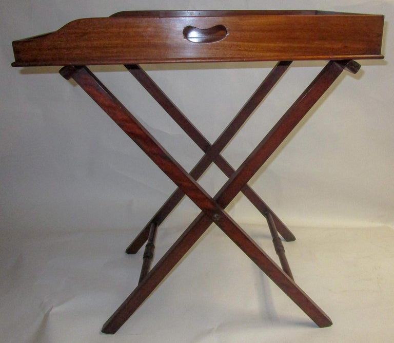 Early 19th Century Regency Period Mahogany English Butler's Tray on Stand For Sale