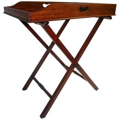 Regency Period Mahogany English Butler's Tray on Stand