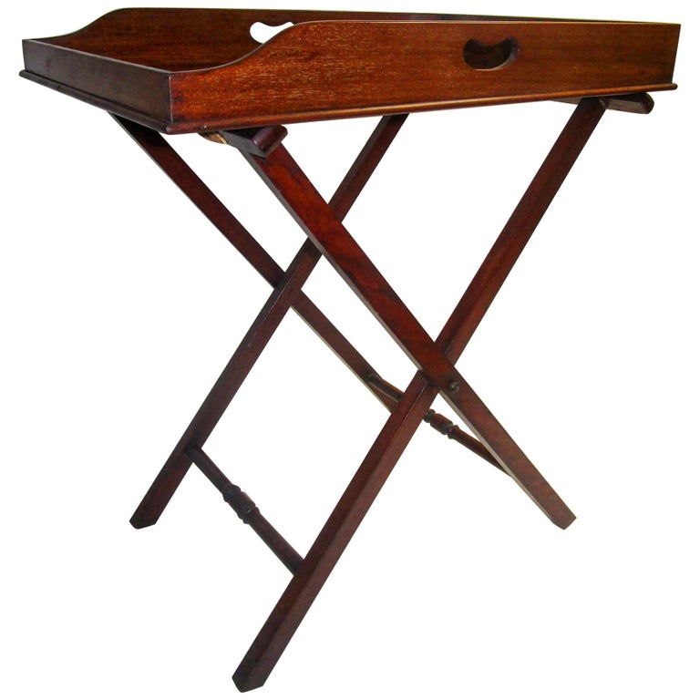 Regency Period Mahogany English Butler's Tray on Stand For Sale