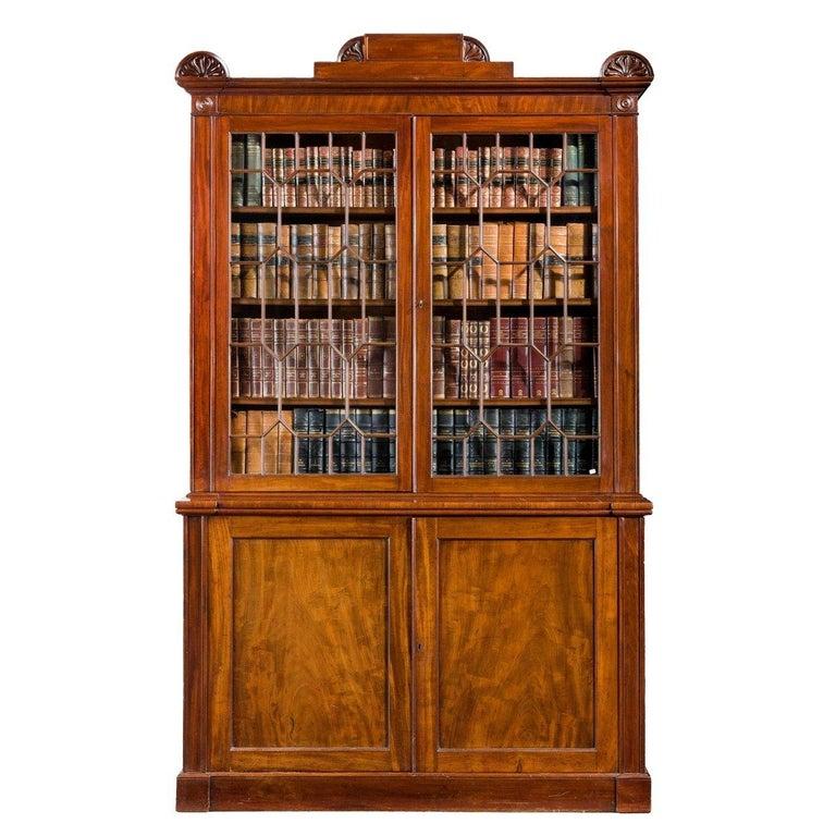 Regency Period Mahogany Two-Door Bookcase For Sale