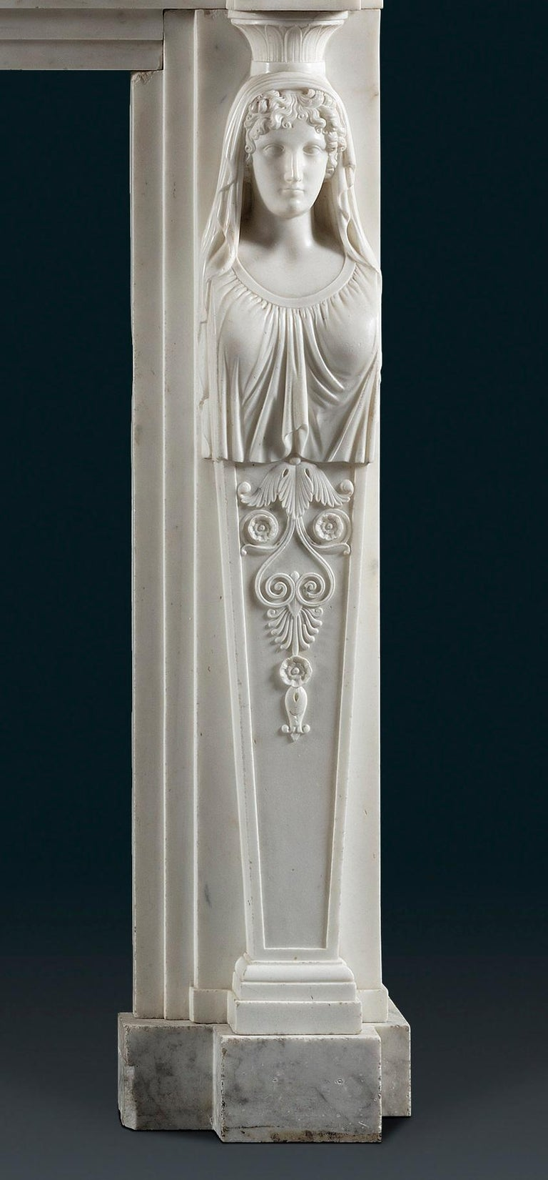 Regency Period, Neoclassical Fireplace in White Statuary Marble In Good Condition For Sale In London, GB