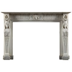Regency Period, Neoclassical Fireplace in White Statuary Marble