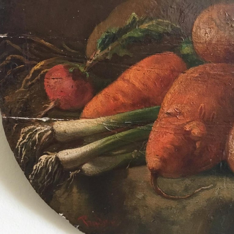French Regency Period Oil on Panel Still Life of Vegetables For Sale