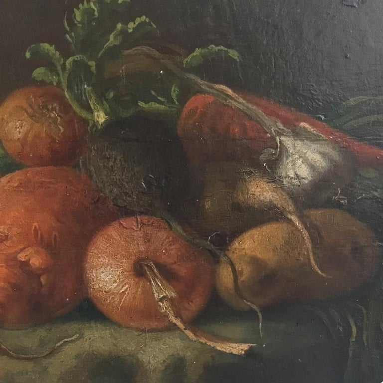 Painted Regency Period Oil on Panel Still Life of Vegetables For Sale