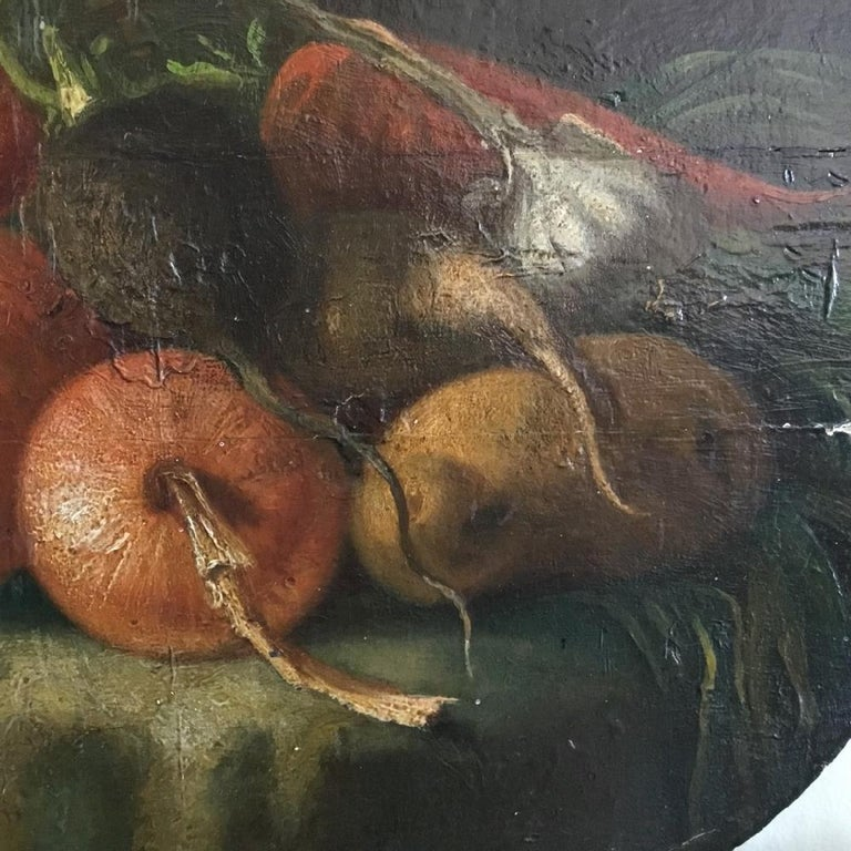19th Century Regency Period Oil on Panel Still Life of Vegetables For Sale