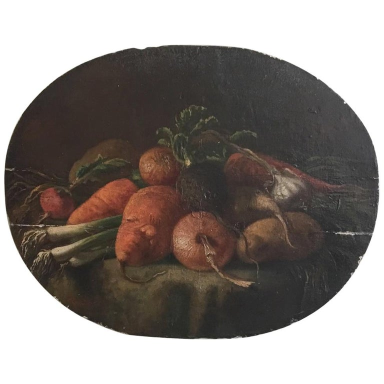 Regency Period Oil on Panel Still Life of Vegetables For Sale