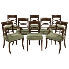 Regency Period Set of Eight Mahogany and Ebony Inlaid Dining Chairs