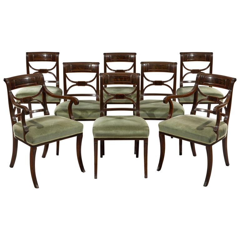 Regency Period Set of Eight Mahogany and Ebony Inlaid Dining Chairs For Sale