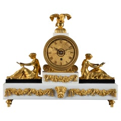 Regency Period White Marble and Gilt Bronze Mantel Timepiece the Superb English