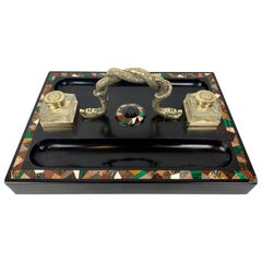 Pietra Dura Inkstand with Malachite & Other Hardstones- Regency Period