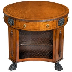Regency Plum-Pudding Mahogany Library Centre Table and Bookcase