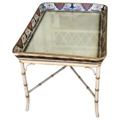 Regency Polychrome and Cream Decorated Papier Mâché Tray Table, circa 1810