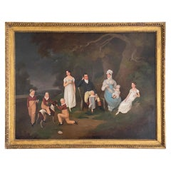 """Regency Portrait """" A Squire And His Family """" Oil on Canvas"""
