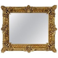 Regency Rectangular Handcrafted Gold Foil Wood Mirror, 1970