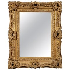 Regency Rectangular Handcrafted Gold Foil Wood Wall Mirror, 1970
