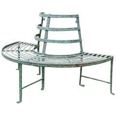 Regency Reeded Demi Lune Wrought Iron Tree Seat