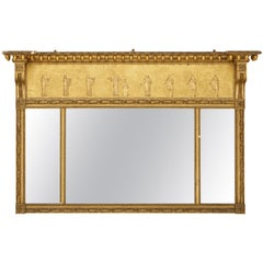 Regency Revival Carved and Giltwood Pier Mirror, Glass, circa 1945