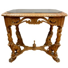 Regency Revival Carved Marble-Top Table with Lions