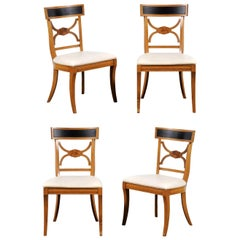 Regency Revival Klismos-Style Black Painted Chairs, Four or a Set