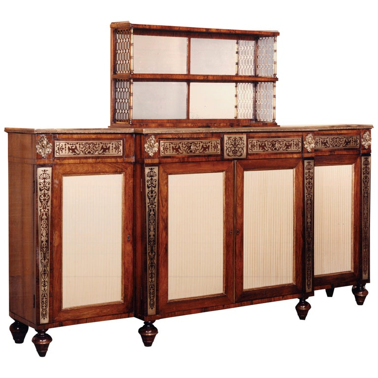 Regency Rosewood and Brass Chiffonier, after Designs by John Mclean For Sale