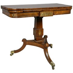 Regency Rosewood and Brass Inlaid Card Table