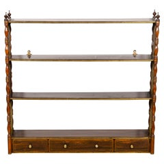 Regency Rosewood and Brass Inlaid Hanging Wall Shelf