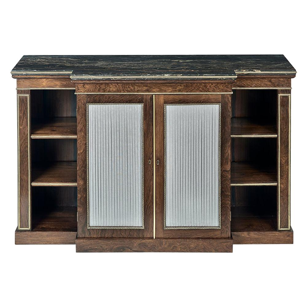 Regency Rosewood and Gilt Bronze Breakfront Side Cabinet/Open Bookcase
