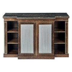 Regency Rosewood and Gilt Bronze Breakfront Side Cabinet/Open Bookcase