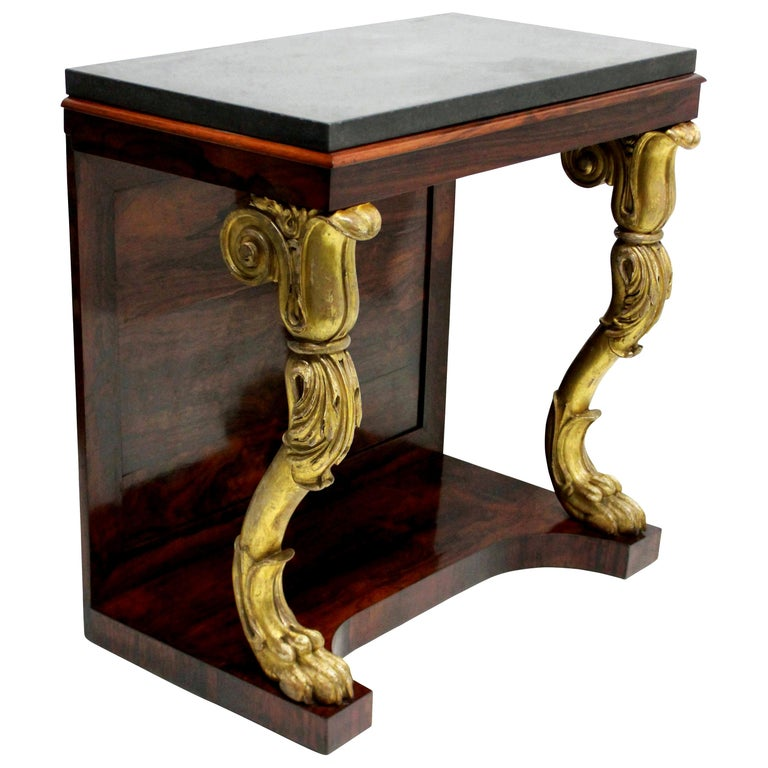 Regency Rosewood and Giltwood Console Table For Sale