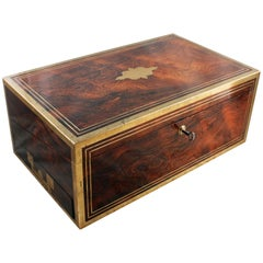 Fine 19th Century Regency Rosewood Brass Bound Box Desk