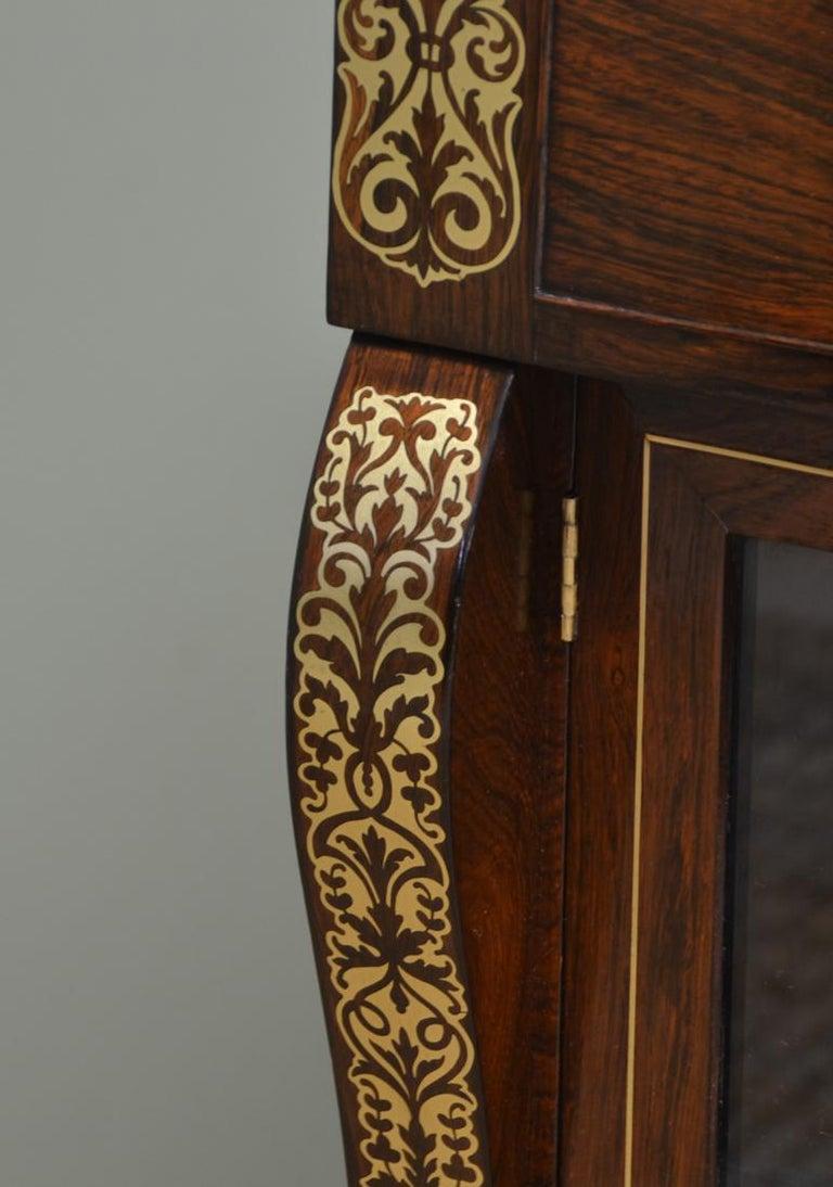 European Regency Rosewood Brass Inlaid Antique Secretaire Cabinet For Sale