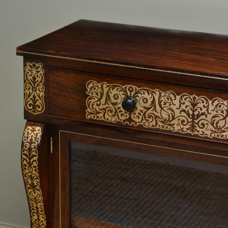 Regency Rosewood Brass Inlaid Antique Secretaire Cabinet In Good Condition For Sale In Link 59 Business Park, Clitheroe