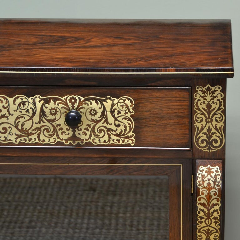 Early 19th Century Regency Rosewood Brass Inlaid Antique Secretaire Cabinet For Sale