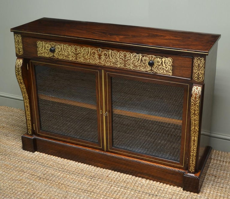 Regency Rosewood Brass Inlaid Antique Secretaire Cabinet For Sale 2