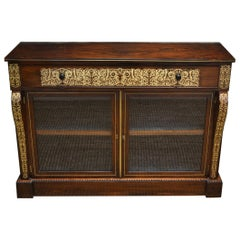 Regency Rosewood Brass Inlaid Antique Secretaire Cabinet