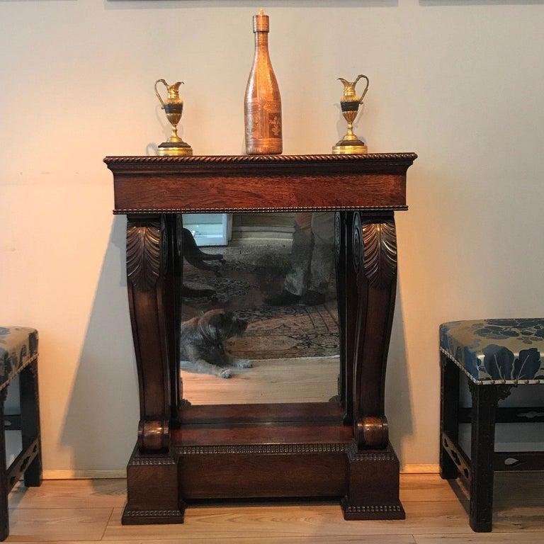 Veneer Regency Rosewood Console Hall Table For Sale