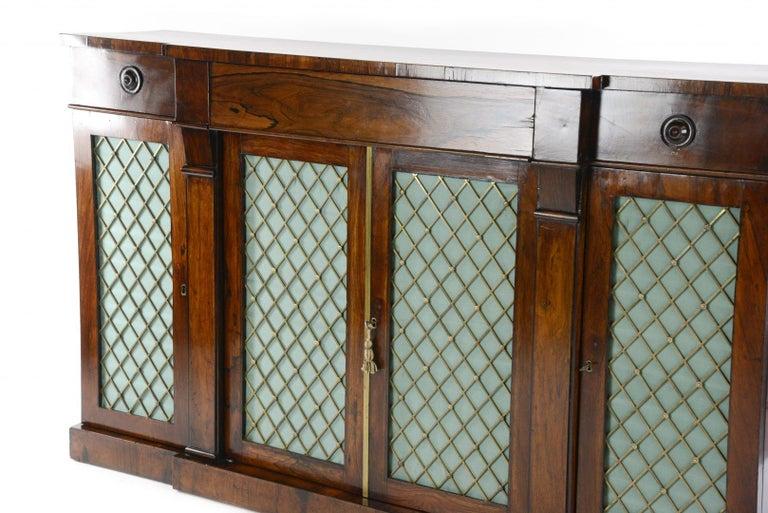 British Regency Rosewood Credenza For Sale