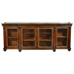 Regency Rosewood, Ebonized and Bronze Mounted Credenza or Cabinet By Gillows