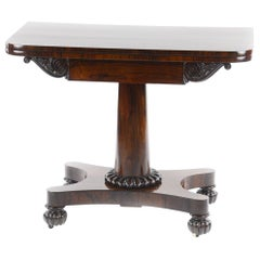 Regency Rosewood Fold-Over Top with D End Card Table Attributed to Gillows