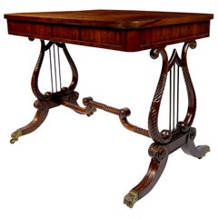 Regency Rosewood Library Table with Lyre Base