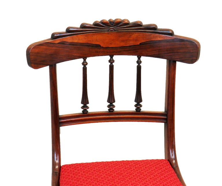 English Regency Rosewood Set of Six Antique Dining Chairs