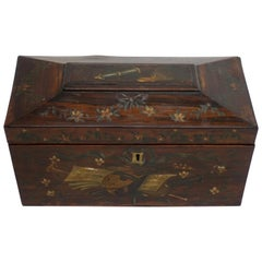 Regency Rosewood Tea Caddy with Later Painted Flowers, English 19th Century