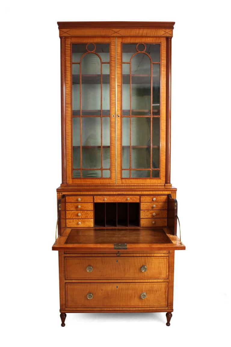 Regency Satinwood Secretaire Bookcase, circa 1815 For Sale 3