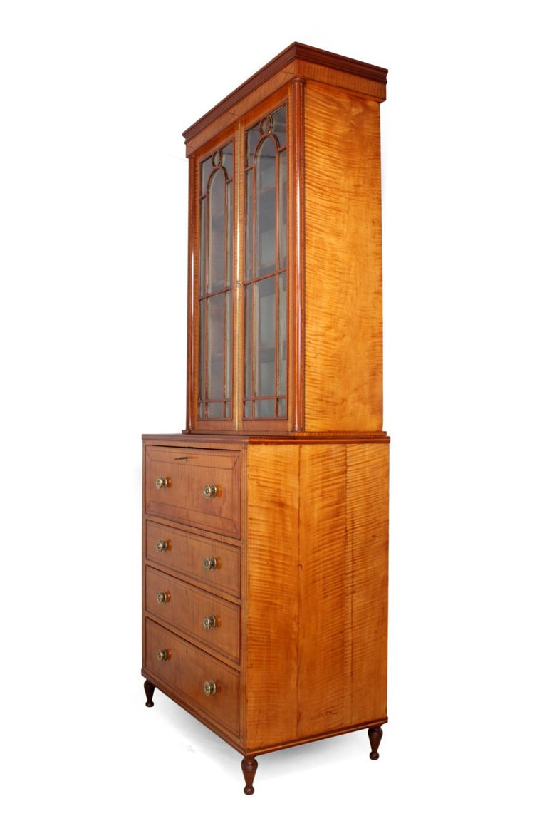 Regency Satinwood Secretaire Bookcase, circa 1815 For Sale 4